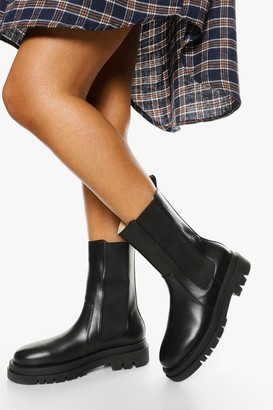boohoo Wide Fit Calf High Chunky Sole Chelsea Boot