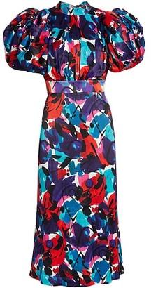 Rotate by Birger Christensen Dawn Puff-Sleeve Brushstroke Midi Dress