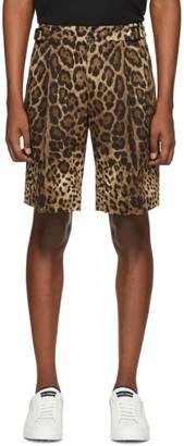 Dolce & Gabbana Brown Leopard Bermuda Shorts