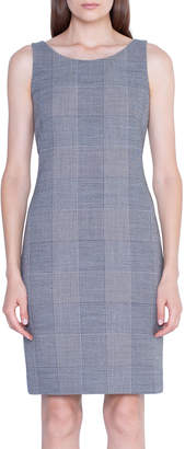 Akris Plaid Crepe Sleeveless Sheath Dress
