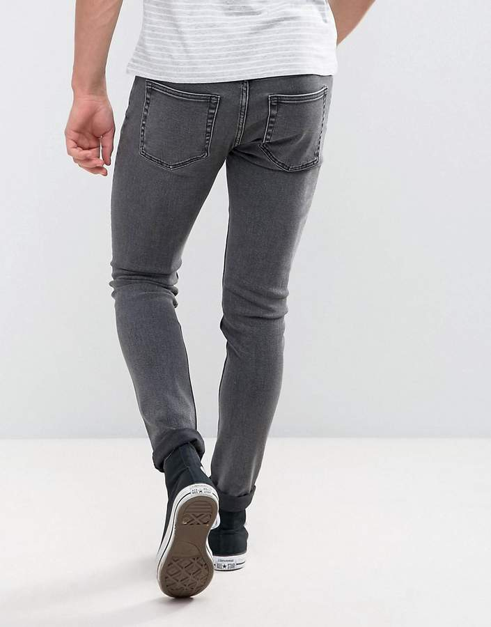 Weekday Form Super Skinny Jeans Salt And Pepper Black Acid Wash