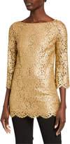 Michael Kors Metallic Lace 3/4-Sleeve Tunic