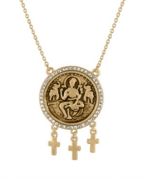 "Rachel Roy Gold-Tone Pave Coin Pendant Necklace, 18"" + 3"" extender"