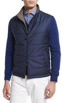 Ermenegildo Zegna Reversible Wool Vest, Medium Blue/Beige