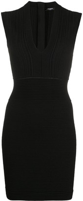 Balmain Plunge-Neck Ribbed Bodycon Dress