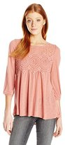 Jolt Women's Victorian Style Knit Top with Crochet Front