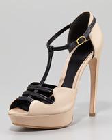 Alexander McQueen Two-Tone Leather Platform Sandal