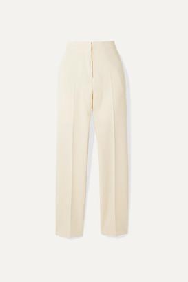 Burberry Stretch-wool Crepe Straight-leg Pants - Ecru