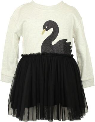 Popatu Black Swan Long Sleeve Tulle Dress