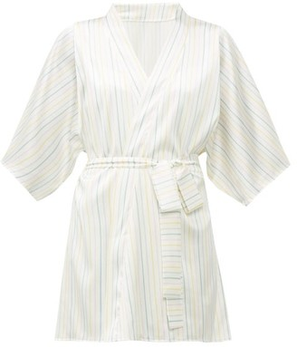Fleur of England Happiness Striped Silk-blend Satin Robe - Multi Stripe