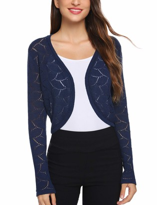 Abollria Shrugs for Women Solid Long Sleeve Evening Wedding Cover Up Bolero Cardigan Navy Blue