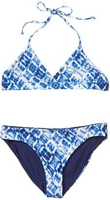 Splendid Littles Hidden Shores Reversible Triangle and Reversible Retro Pant Set (Big Kids) (Navy) Girl's Swimwear Sets