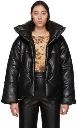 Nanushka Black Vegan Leather Puffer Jacket