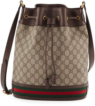 Gucci Ophidia GG Supreme Canvas Drawstring Bucket Bag