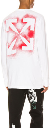 Off-White Stencil Long Sleeve Tee in White & Red | FWRD