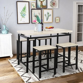 Moda Furnishings Moda Dining Table with 4 Chairs,5 Piece Dining Set with Counter and Pub Height