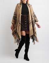 Charlotte Russe Nubby Hooded Poncho Cardigan