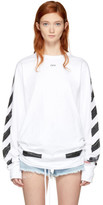 Off-White White Long Sleeve Brushed Diagonal T-shirt