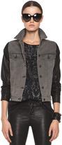 Rag and Bone rag & bone JEAN Denim Jacket with Leather Sleeves in Iron