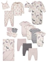 Gerber Baby Girl Bunny Baby Shower Layette Gift Set, 17pc