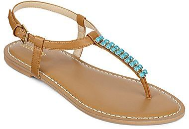 Liz Claiborne Gypsy Beaded Flat Thong Sandals