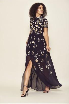 Frock and Frill Josie Short Sleeve High Neck Embroidered Maxi Dress