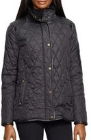 Lauren Ralph Lauren Rounded Faux Leather Patch Quilted Jacket