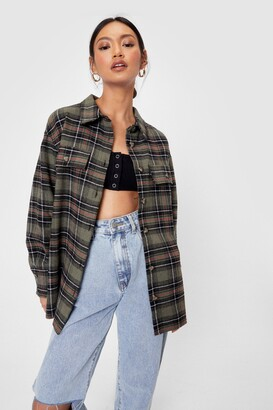 Nasty Gal Womens Oversized Long Sleeve Check Print Shirt - Green - S