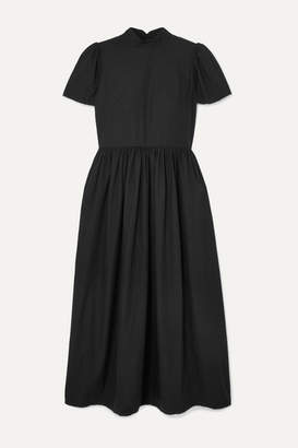 Rhode Resort Heidi Crystal-embellished Cotton-poplin Midi Dress - Black