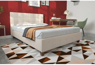 Andover Mills Amherst Upholstered Platform Bed Color: Tan, Size: Full