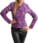 House of Leather Womens Cross Zip Slim Fit Biker Style Genuine Leather Jacket Hetty