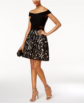 Xscape Evenings Off-The-Shoulder Burnout Fit and Flare Dress