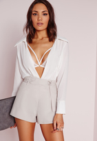 Missguided Wrap Waist D-Ring Shorts Grey