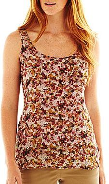 Liz Claiborne Multicolor Floral Woven Tank Top with Cami