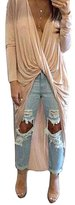 Missord Women Long Sleeve V Neck Irregular Soft Casual Long Tops Blouses