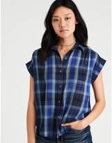 Aeo AE Plaid Short Sleeve Boyfriend Shirt