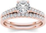 MODERN BRIDE 1 CT. T.W. Diamond 10K Rose Gold Bridal Ring Set