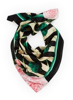Texas And The Artichoke Medium Artichokes Roses & Stripes Silk Scarf
