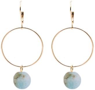 Bridal Collection Lorna Drop Hoop Aquamarine Bead Earrings