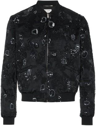Saint Laurent Sequin Embroidered Bomber Jacket