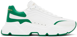 Dolce & Gabbana White and Green Daymaster Sneakers