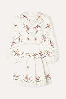Zimmermann Allia Lace-trimmed Embroidered Linen And Cotton-blend Mini Dress - Ivory