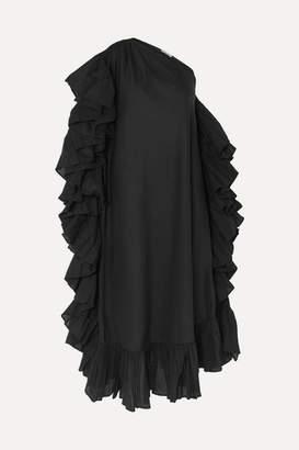 Kalita Zahara One-shoulder Ruffled Cotton-voile Maxi Dress - Black