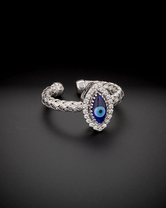 Meshmerise 14K Italian Gold 0.15 Ct. Tw. Diamond Marquee Evil Eye Adjustable Ring