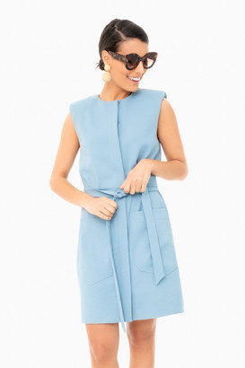 Tibi Chalky Drape Short Shirt Dress with Shoulder Pads