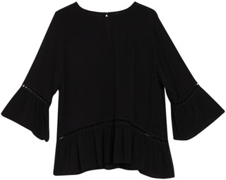 Bobeau Solid 3/4 Bell Sleeve Ruffled Top