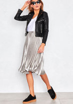 Missy Empire Kati Silver Pleated Midi Skirt