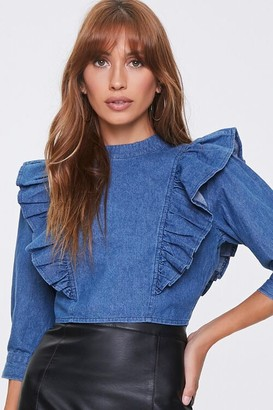 Forever 21 Denim Flounce-Trim Top