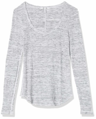 Three Dots Women's NN2782 Chunky Heather Thermal Scoop Neck