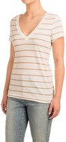 Specially made Striped V-Neck Shirt - Cotton-Modal, Short Sleeve (For Women)